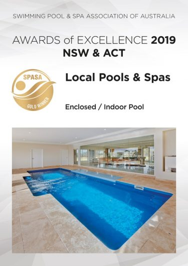 Local Pools and Spas SPASA NSW ACT 2019 Awards Gold enclosed indoor pool